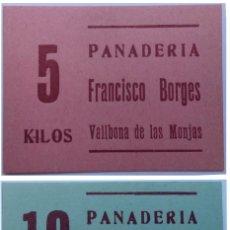 Monedas locales: 2 VALES 10 Y 5 KG DE PAN PANADERIA FRANCISCO BORGES DE VALLBONA DE LAS MONJAS (LLEIDA-LERIDA) XXG. Lote 190033208