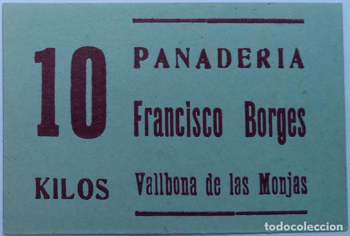 Monedas locales: 2 VALES 10 y 5 KG DE PAN PANADERIA FRANCISCO BORGES DE VALLBONA DE LAS MONJAS (LLEIDA-LERIDA) xxG - Foto 3 - 190033208