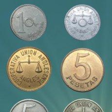 Monedas locales: COLECCIÓN ANGLESENSE DE 3 VALORES: 1 PESETA, 2X 5 PESETAS ANGLESENSE FICHAS MONEDA, GUERRA CIVIL XXX. Lote 182749230
