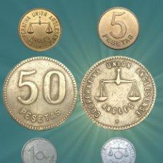 Monedas locales: COLECCIÓN ANGLESENSE VALORES 50 PESETAS, 2X 5 PESETAS, 1 PESETA FICHAS MONEDA, GUERRA CIVIL. Lote 187106512