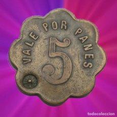 Monedas locales: 5 PANES VALE UNIÓ COOPERATIVA BARCELONESA 1927. FICHA MONEDA XXX. Lote 190277175