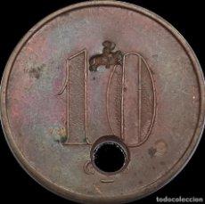 Monedas locales: 10 CÉNTIMOS UNIÓ COOPERATIVA BARCELONESA . GUERRA CIVIL. FICHA MONEDA XXX. Lote 190281186