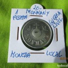Monete locali: MONMANY. 1 PESETA. J. T M. MONEDA, FICHA LOCAL.. Lote 191790245