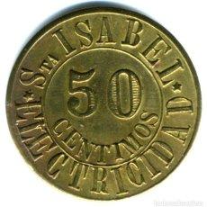 Moedas locais: XS- SEVILLA FICHA 50 CENTIMOS ELECTRICIDAD SANTA ISABEL LATÓN. Lote 192091102