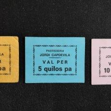 Monedas locales: LOTE 3 VALE DE NECESIDAD PAN - PASTISSERIA DE JORDI CAPDEVILA - PIRA ( TARRAGONA ) MUY RAROS. Lote 145922058