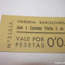 Monedas locales: FICHA DINERARIA DE CARTON....VIDRIERIA BARCELONESA..VALE POR 0'05 PESETAS.. Lote 193318052