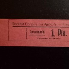 Monedas locales: VALE CUPON RIERA SOCIEDAT COOPERATIVA AGRÍCOLA SOCIEDAD CONSUMICIÓN CONSUMACIÓ TARRAGONA CATALUÑA. Lote 193335357