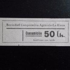 Monedas locales: VALE CUPON LA RIERA SOCIEDAT COOPERATIVA AGRÍCOLA SOCIEDAD CONSUMICIÓN CONSUMACIÓ TARRAGONA CATALUÑA. Lote 193335707