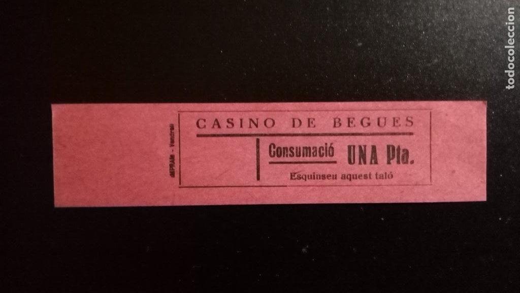 VALE CUPON CASINO DE BEGUES LLOBREGAT BARCELONA CONSUMACIÓ CONSUMICIÓN CATALUÑA 1 PTA (Numismática - España Modernas y Contemporáneas - Locales y Fichas Dinerarias y Comerciales)