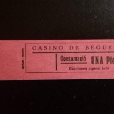 Monedas locales: VALE CUPON CASINO DE BEGUES LLOBREGAT BARCELONA CONSUMACIÓ CONSUMICIÓN CATALUÑA 1 PTA. Lote 193349248