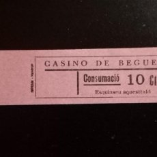 Monedas locales: VALE CUPON CASINO DE BEGUES LLOBREGAT BARCELONA CONSUMACIÓ CONSUMICIÓN CATALUÑA 10 CTS. Lote 193349562