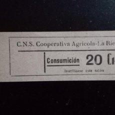 Monedas locales: VALE CUPON CNS SINDICATO AGRÍCOLA LA RIERA TARRAGONA CONSUMACIÓ CONSUMICIÓN CATALUÑA 20 CTS. Lote 193349952