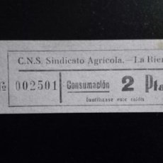 Monedas locales: VALE CUPON CNS SINDICATO AGRÍCOLA LA RIERA TARRAGONA CONSUMACIÓ CONSUMICIÓN CATALUÑA 2 PTAS. Lote 193350212