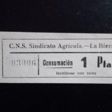 Monedas locales: VALE CUPON CNS SINDICATO AGRÍCOLA LA RIERA TARRAGONA CONSUMACIÓ CONSUMICIÓN CATALUÑA 1 PTA. Lote 193350505