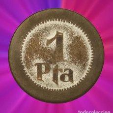 Monedas locales: 1 PESETA CUÑOS PUEBLA DE CAZALLA SERIE UNIFACIALES RARA FICHA MONEDA GUERRA CIVIL . Lote 194141843