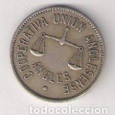 Monedas locales: COOPERATIVA UNIÓN ANGLESENSE 5 PESETAS DE ANGLÉS. MBC. (C10). Lote 194501888