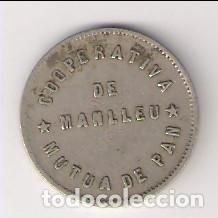 FICHA DE PESETA DE LA COOPERATIVA MUTUA DE PAN DE MANLLEU. CATÁLOGO ANTONI LÓPEZ-2937. (C61) (Numismática - España Modernas y Contemporáneas - Locales y Fichas Dinerarias y Comerciales)