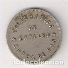 Monedas locales: FICHA DE PESETA DE LA COOPERATIVA MUTUA DE PAN DE MANLLEU. CATÁLOGO ANTONI LÓPEZ-2937. (C61). Lote 194502350