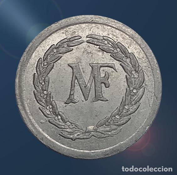 Monedas locales: 2 monedas N F con valores 1, 2 . France nouveau franc NF centimes ficha xxx - Foto 3 - 194587932