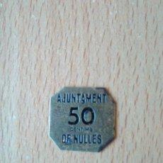 Monedas locales: PRECIOSA MONEDA 50 CÉNTIMS AJUNTAMENT DE NULLES TARRAGONA GUERRA CIVIL ESPAÑOLA. CENTIMOS ESPAÑA VER. Lote 194700913