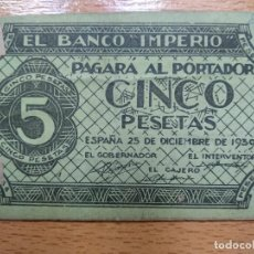 Monedas locales: EL BANCO IMPERIO.PAGARA AL PORTADOR, 5 PTAS, ESPAÑA 25 DE DICIEMBRE 1939, . VER FOTOS. Lote 194899592