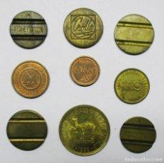 Monedas locales: CONJUNTO DE 9 FICHAS DINERARIAS, COMERCIALES O PROPAGANDISTICAS ESPAÑOLAS Y EXTRANJERAS. LOTE 2330. Lote 194922982