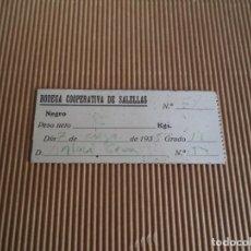 Monedas locales: CARTON VALE DE BODEGA COOPERATIVA DE SALELLAS ----MANRESA. Lote 195062662