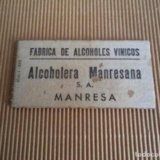 Monedas locales: CARTON VALE FABRICA DE ALCOHOLES VINICOS ALCOHOLERA MANRESANA ----MANRESA. Lote 195062682
