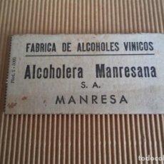Monedas locales: CARTON VALE FABRICA DE ALCOHOLES VINICOS ALCOHOLERA MANRESANA ----MANRESA. Lote 195062707