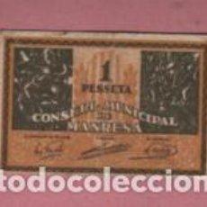 Monedas locales: BILLETE DE 1 PTA. DEL CONSELL MUNICIPAL DE MANRESA - SERIE B . Lote 195109550