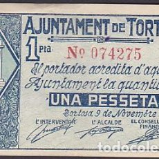 Monedas locales: BILLETE LOCAL AJUNTAMENT DE TORTOSA 1 PESSETA 1937 . Lote 195118857