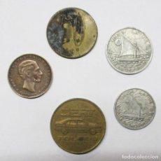 Monedas locales: CONJUNTO DE 5 FICHAS DINERARIAS, COMERCIALES O PROPAGANDISTICAS ESPAÑOLAS Y EXTRANJERAS. LOTE 2337. Lote 195167483
