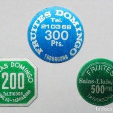 Monedas locales: CONJUNTO DE 3 FICHAS COMERCIALES Y DINERARIAS ESPAÑOLAS ANTIGUAS, TODAS DE TARRAGONA. LOTE 2350. Lote 195497048