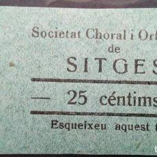 Monedas locales: VALE CUPON SITGES BARCELONA SOCIETAT CORAL ORFEONICA ORFEON MUSICA CANTO 25 CTS. Lote 195637861