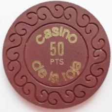Monedas locales: FICHA,TOKEN JETÓN CASINO *DE LA TOJA*. VALOR 50 PESETAS. Lote 195645916