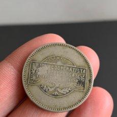 Monedas locales: FICHA UNIÓN COOPERATISTA BARCELONESA EL RELOJ Y LA DIGNIDAD. 1 PESETA. Lote 195728705
