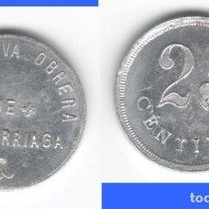 Monedas locales: FICHA: 25 CENTIMOS COOPERATIVA OBRERA DE ARRIGORRIAGA ( VIZCAYA ). Lote 195868837