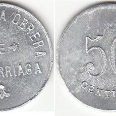 Monedas locales: FICHA: 50 CENTIMOS COOPERATIVA OBRERA DE ARRIGORRIAGA ( VIZCAYA ). Lote 195869682