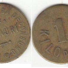 Monedas locales: FICHA: 1 KG DE PAN COOPERATIVA OBRERA DE CONSUMO BASAURI ( VIZCAYA ). Lote 195873613