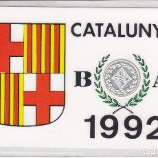 Moedas locais: MEDALLA DE BARCELONA DE 1992 CATALUNYA PLACADA CON 900 ANGSTROMS DE PLATA DE LEY. Lote 196192670
