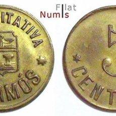 Monedas locales: ESPAÑA - 5 CENTIMOS - COOP. LA EQUITATIVA - PALAMOS - E.B.C. - LATON. Lote 197422758
