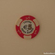 Monedas locales: FICHA DE 5€ DEL CASINO GRAN MADRID DE TORRELODONES. Lote 197706591