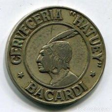 Monedas locales: CERVECERIA HATUEY - CUBA - FICHA PARA HIELO - COMPAÑIA RON BACARDI - AÑOS 40 - MUY RARA. Lote 198978525