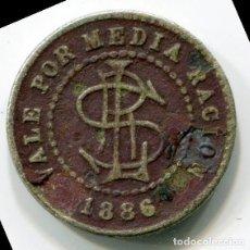 Monedas locales: FICHA POR MEDIA RACION - CENTRAL SANTA LUCIA - GIBARA - CUBA - 1886. Lote 199133073