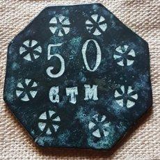 Monedas locales: RARA FICHA DE 50 CENTIMOS PAGO JORNAL ELABORADA ZONA DE TARRAGONA. Lote 199269930