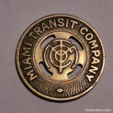 Monedas locales: ANTIGUO TOKEN - FICHA - MIAMI TRANSIT COMPANY - MUY BUENA CONSERVACIÓN - ANTIGUA. Lote 199658920