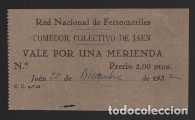 JAEN.- VALE POR UNA MERIENDA- RED NACIONAL DE FERROCARRILES- COMEDOR COLECTIVO-- VER FOTO (Numismática - España Modernas y Contemporáneas - Locales y Fichas Dinerarias y Comerciales)