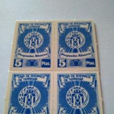 Monedas locales: 4 VALES CAIXA D'ESTALVIS TERRASSA CAJA AHORROS TARRASA 5 PESETAS AÑOS 1970 BANCO CIRCULÓ COMO MONEDA. Lote 201808820
