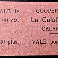 Monedas locales: VALE CUPÓN COOPERATIVA CALAFELLENSE CALAFELL TARRAGONA CATALUÑA DOS VALORES 40 CTS Y 1,6 PTAS RARO. Lote 202651543