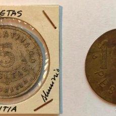 Monedas locales: 2 FICHAS DE COOPERATIVA CO Y SAN JOSE. AZCOITIA, GUIPÚZCOA. 5 Y 100 PESETAS. Lote 202705991
